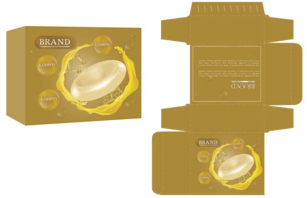 verpackungsdesign, soap box design vorlage und mock-up-box. - stanzen stock-grafiken, -clipart, -cartoons und -symbole