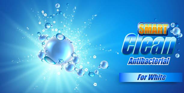 illustrations, cliparts, dessins animés et icônes de modèle de conception d'emballage de poudre à laver. super propre. bulles de savon, mousse. - mousse d'emballage