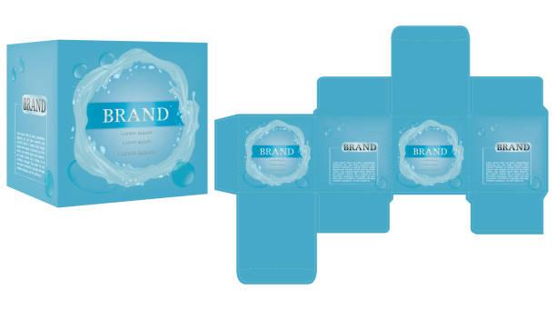 packaging design vektor, luxus box design vorlage und mock-up-box. - stanzen stock-grafiken, -clipart, -cartoons und -symbole