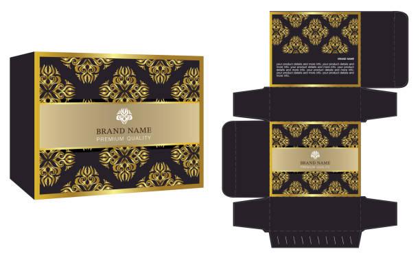 packaging design vektor, luxus-box-template und mock-up-box. - stanzen stock-grafiken, -clipart, -cartoons und -symbole