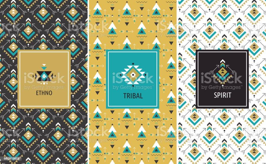 Packaging design with geometric art, ethnic and bohemian, tribal aztec seamless patterns – Vektorgrafik