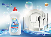 Packaging dishwashing liquid soap. Clean plate and cutlery. Vector illustration.