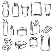 Packaging doodles Set. Vector illustration.