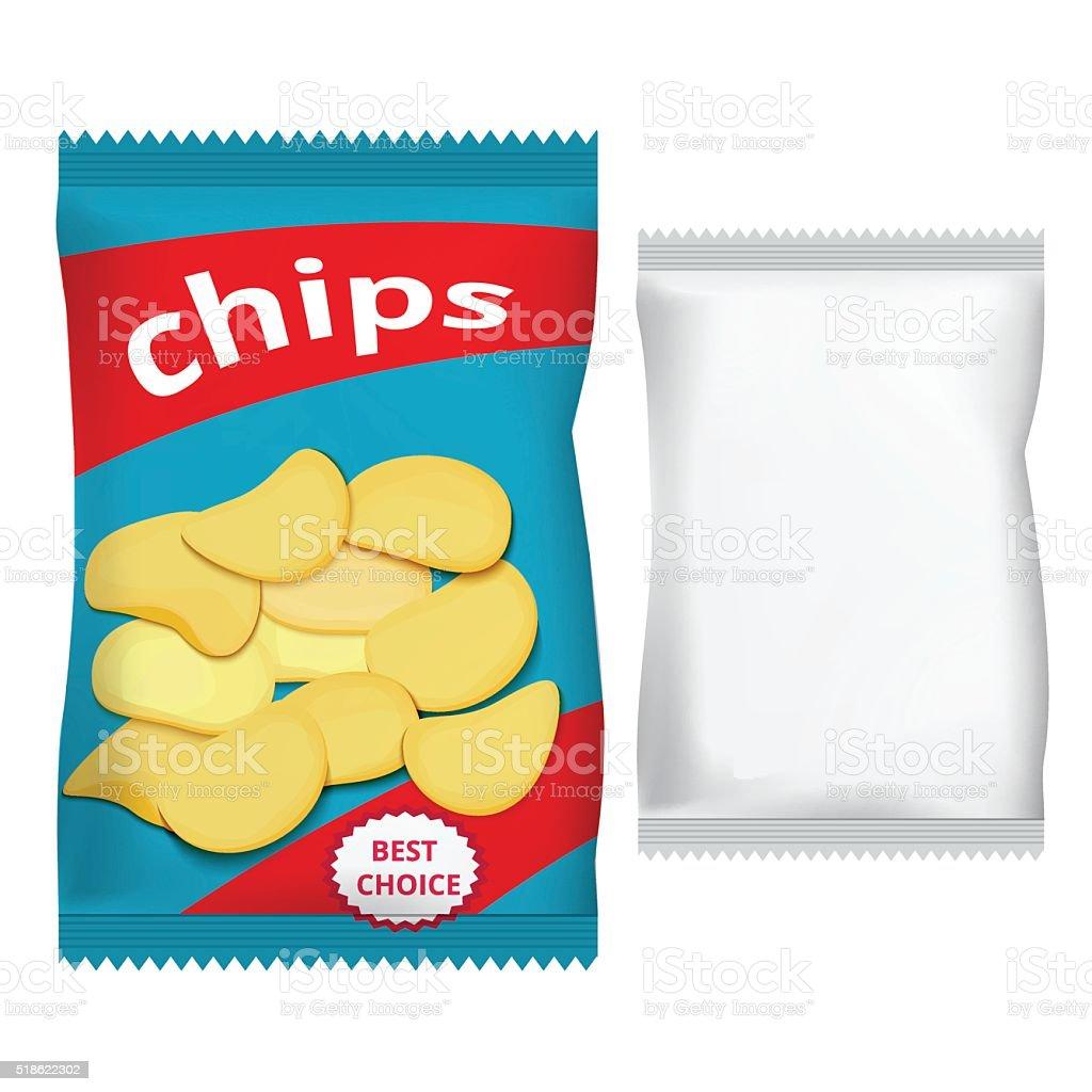 Embalagem de salgadinhos, projeto de embalagens - ilustração de arte em vetor