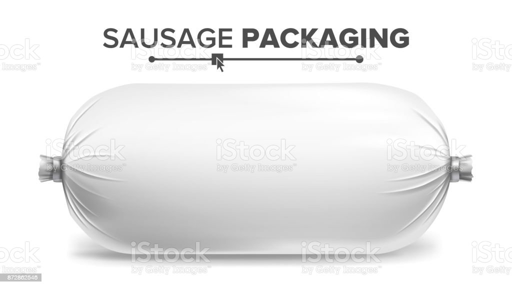 Packaging For Sausage Vector. White Plastic Packaging For Meat Product. Isolated Illustration vector art illustration