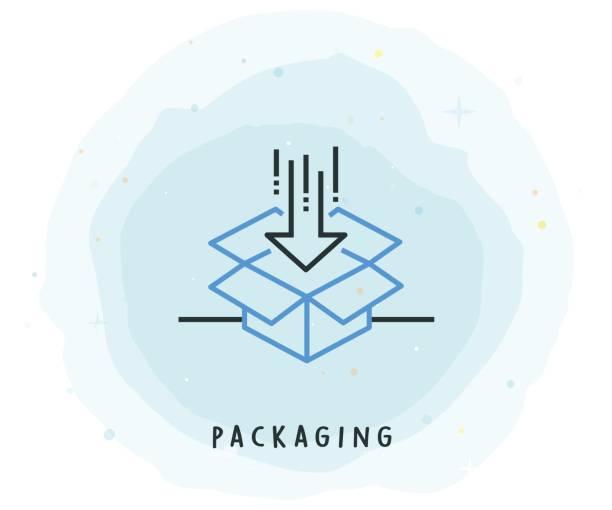 Icône d'emballage avec le Patch aquarelle - Illustration vectorielle