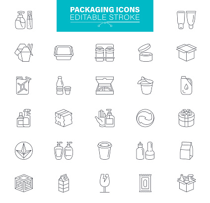 Packaging Icons Editable Stroke. Contains such icons as Delivery, Take Out Food,  Bag, Container