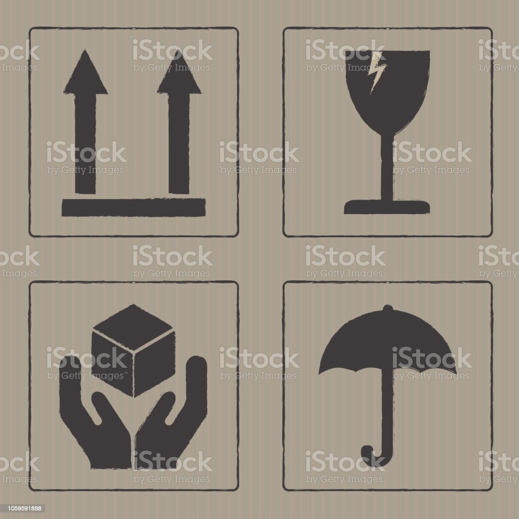 Packaging icons or sign set. Fragile symbols isolated on cardboard...