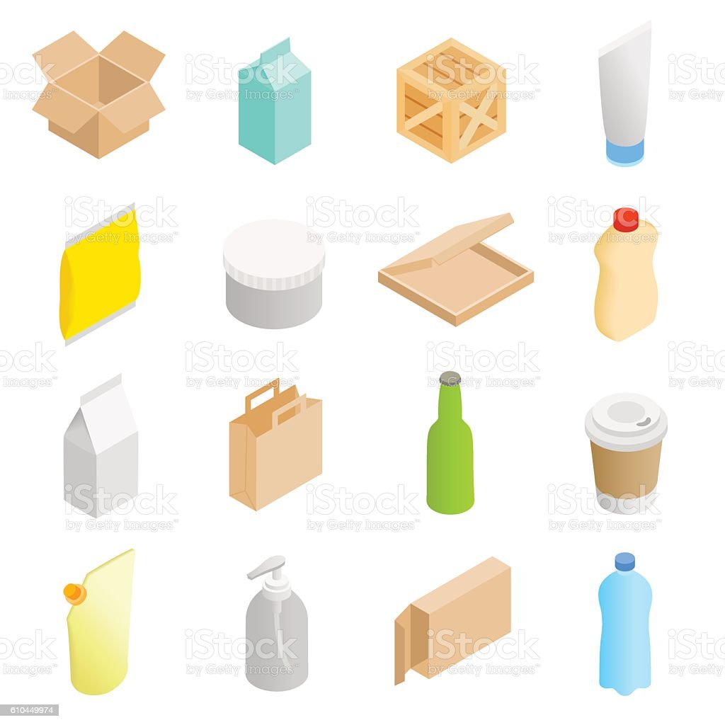 Packaging isometric 3d icons set – Vektorgrafik