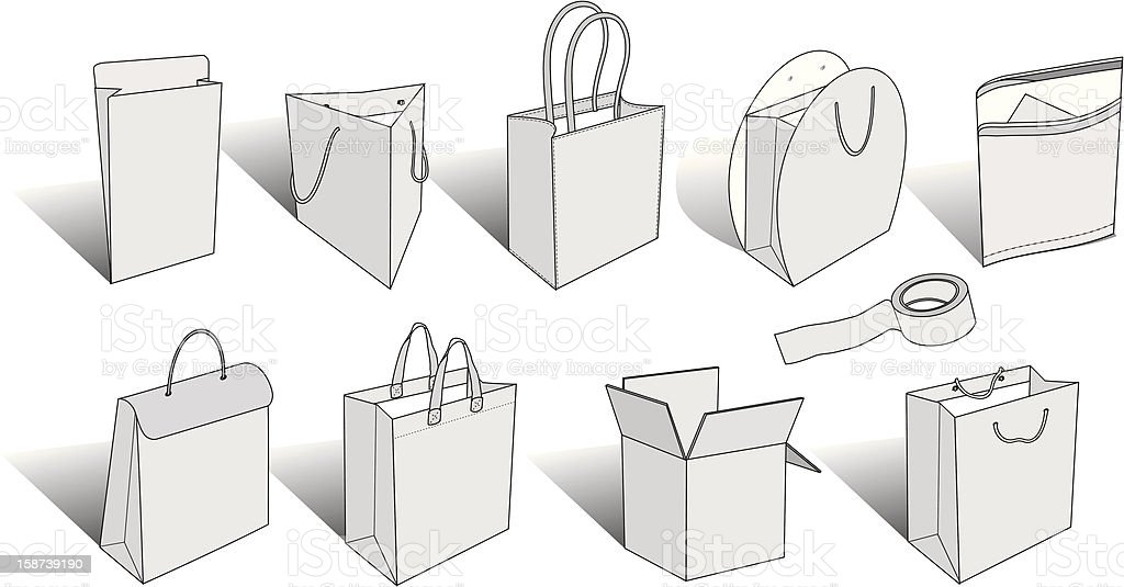 packaging items royalty-free packaging items stock vector art & more images of bag