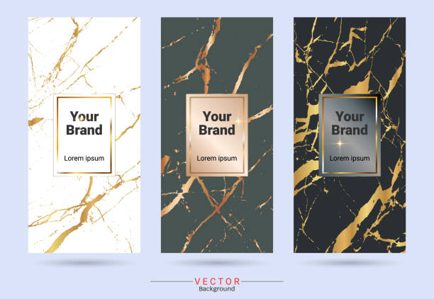 Packaging & label brands design templates, Suitable for luxury or premium products with marble texture, golden foil and linear style (Vector EPS10, Fully editable color change) vector art illustration