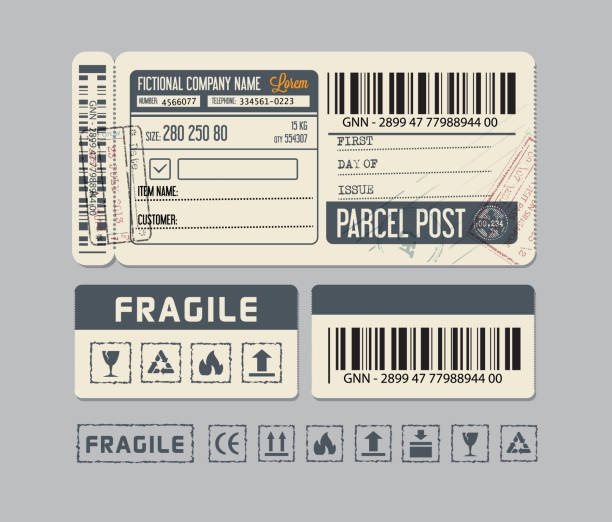 Packaging Labels. Sticker for Parcel post or Packaging vector art illustration