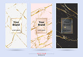 Packaging product design label and stickers templates, Suitable for luxury or premium products brands with marble texture, golden foil and linear style (Vector EPS10, Fully editable and color change)