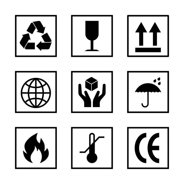 Packaging sign frame set isolated Packaging pictogram set isolated on white background. Packing icon collection including fragile, recycle, right side up, keep dry, CE marking and other signs. For box, design, infographic fragility stock illustrations