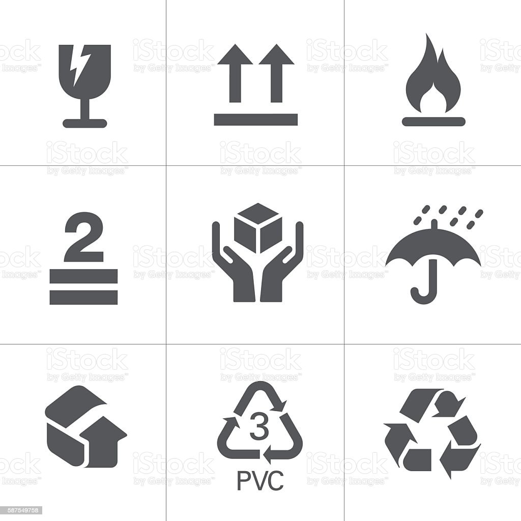 Packaging Signs & Symbols royalty-free packaging signs symbols stock illustration - download image now