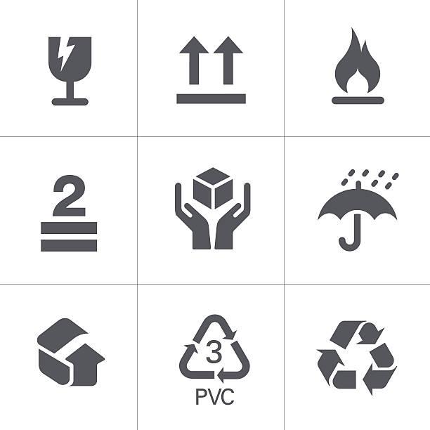 Packaging Signs & Symbols Vector Packaging Signs & Symbols fragility stock illustrations