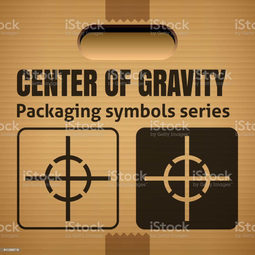 Center Of Gravity Packaging Symbol On Cardboard Box Stock Vector Art
