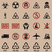Packaging Symbols Grunge Icon Set