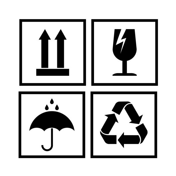 Packaging symbols in form of stamps, for wooden, cardboard boxes. Packaging cargo symbols in form of stamps, for wooden, cardboard boxes. Meaning environmental friendliness, fragility of cargo, need for protection from moisture, cargo marking. Vector illustration. fragility stock illustrations