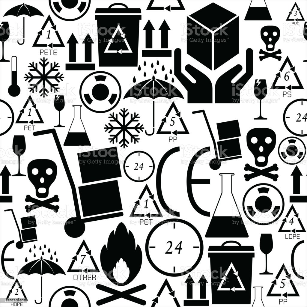 packaging symbols seamless pattern background icon.