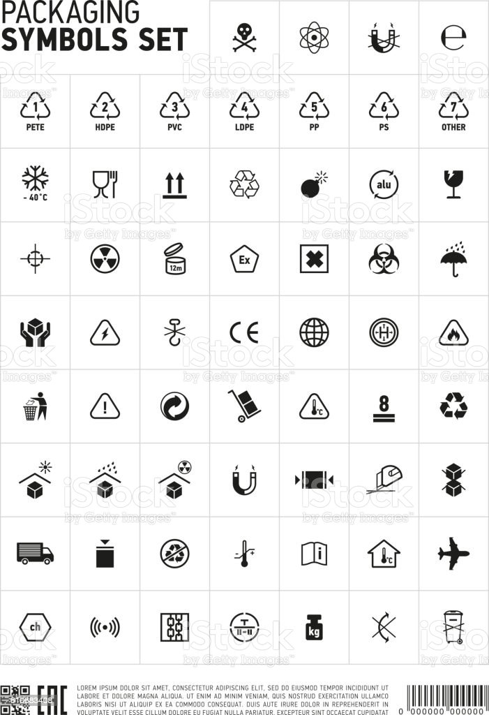 Packaging symbols set icon. vector art illustration