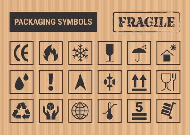 stockillustraties, clipart, cartoons en iconen met verpakking symbolen set - breekbaarheid