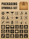 Packaging symbols set including Fragile, Handle with care, Keep dry, This side up, Flammable, Recycled, Package weight, Do not litter, Max stack, Clamp and Sling here, Protect from heat and others