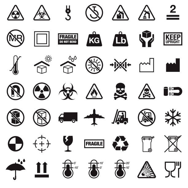 Packaging Symbols A set of packaging symbols in black. The background is transparent so icons can be placed onto colored backgrounds. File is built in the CMYK color space and all shapes are 100% K (black). biohazard symbol stock illustrations