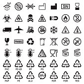 A set of packaging symbols in black. The background is transparent so icons can be placed onto colored backgrounds. File is built in the CMYK color space and all shapes are 100% K (black).