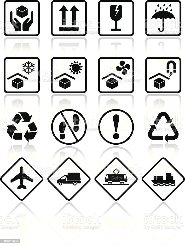 Packaging transportation icons vector art illustration
