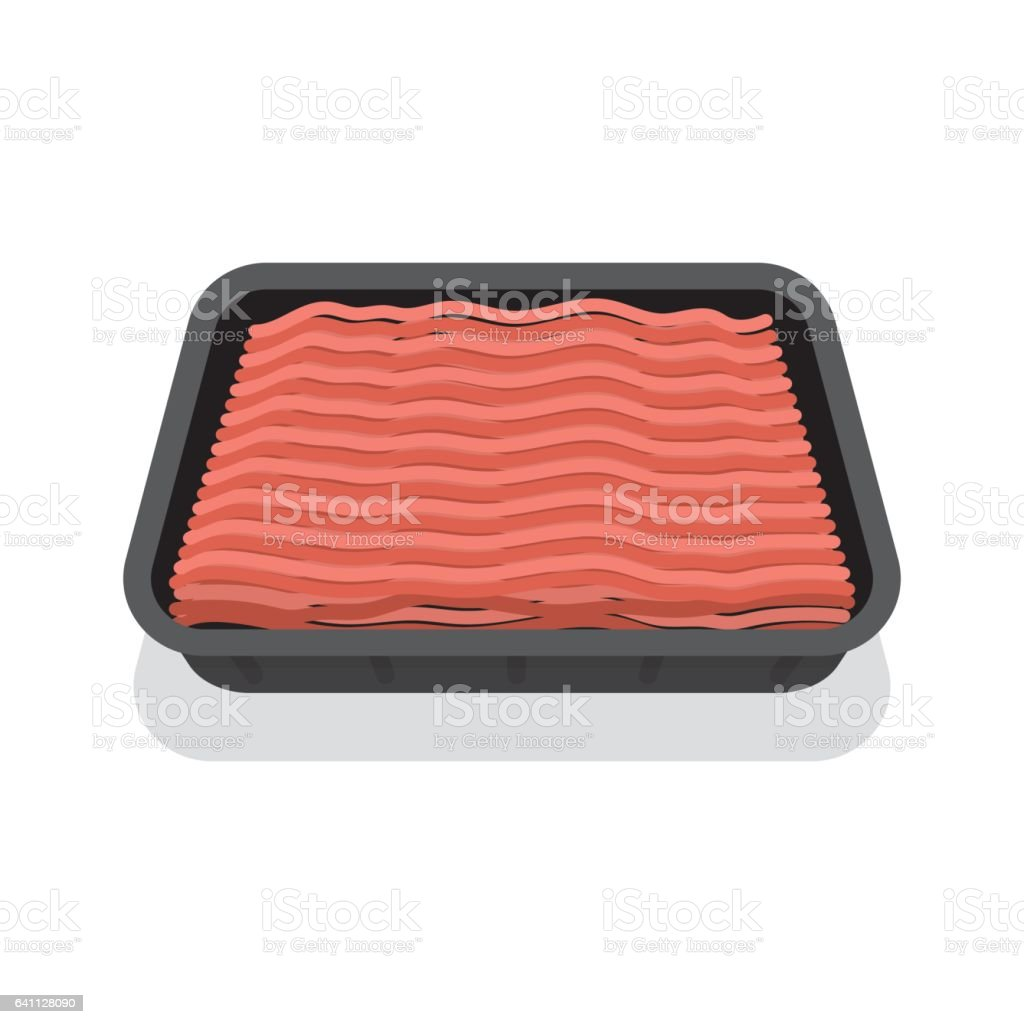 Packed mince meat in black tray vector art illustration