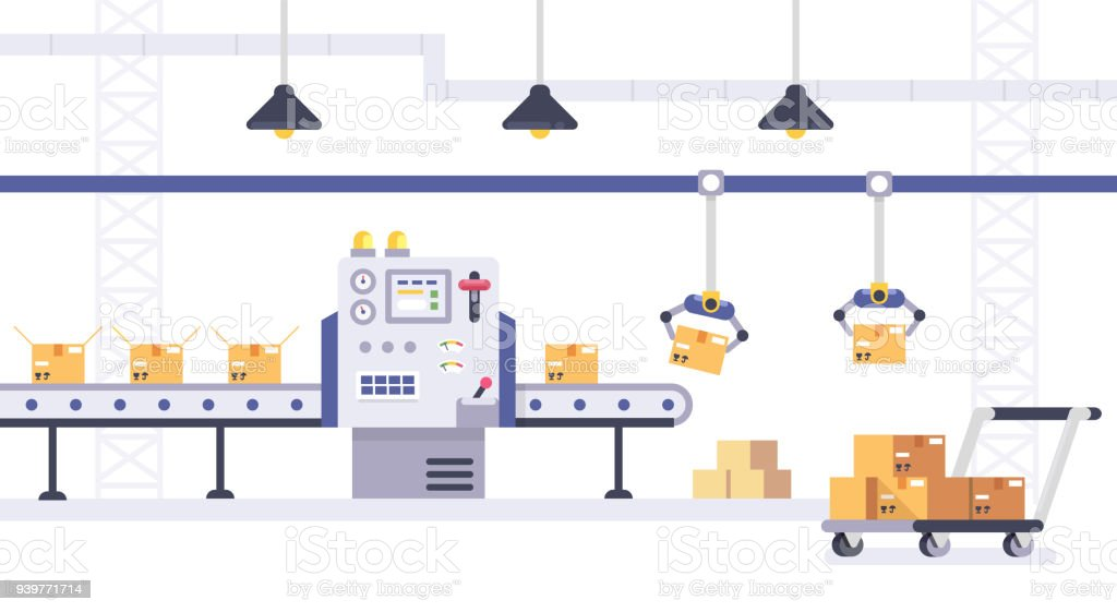 Packing and Production line concept in flat style. Industrial machine vector illustration. Cardboard Boxes on conveyor belt in factory. packing and production line concept in flat style industrial machine vector illustration cardboard boxes on conveyor belt in factory - immagini vettoriali stock e altre immagini di affari royalty-free