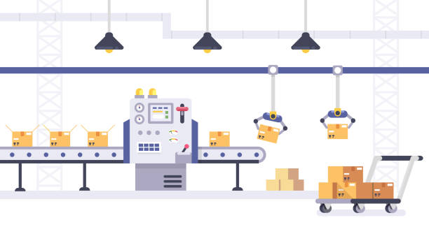 ilustrações de stock, clip art, desenhos animados e ícones de packing and production line concept in flat style. industrial machine vector illustration. cardboard boxes on conveyor belt in factory. - factory