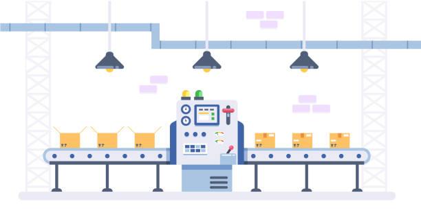 stockillustraties, clipart, cartoons en iconen met verpakking en productielijn concept in vlakke stijl. industriële machine vectorillustratie. kartonnen dozen op transportband in de fabriek. - lopende band