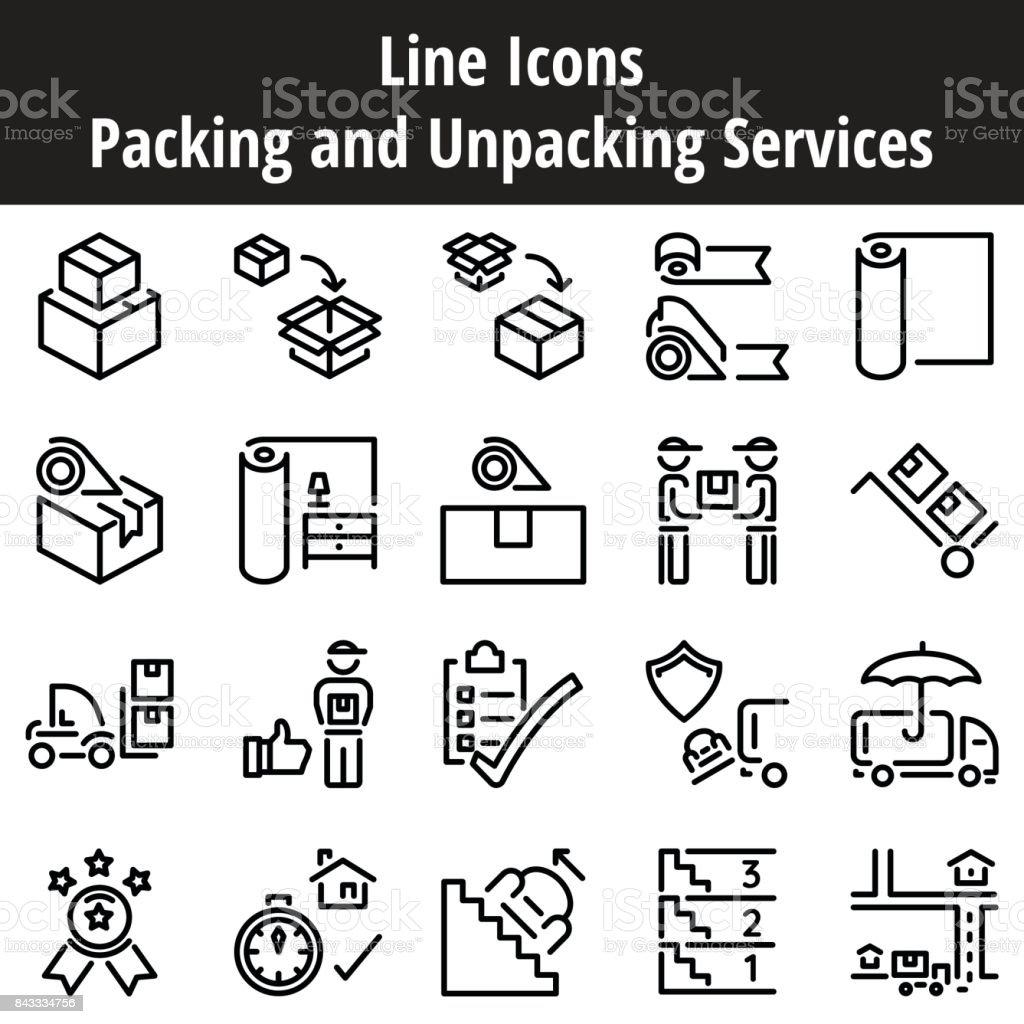 梱包・開梱サービス ラインのアイコン。ビジネス サービスの移動、輸送、配送、出荷。 ベクターアートイラスト
