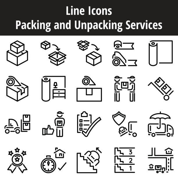 梱包・開梱サービス ラインのアイコン。ビジネス サービスの移動、輸送、配送、出荷。 - 新居点のイラスト素材/クリップアート素材/マンガ素材/アイコン素材