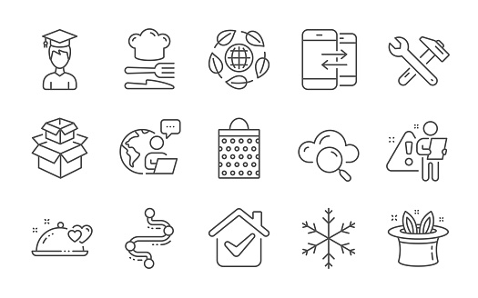 Packing boxes, Hat-trick and Cloud computing icons set. Spanner tool, Snowflake and Romantic dinner signs. Vector