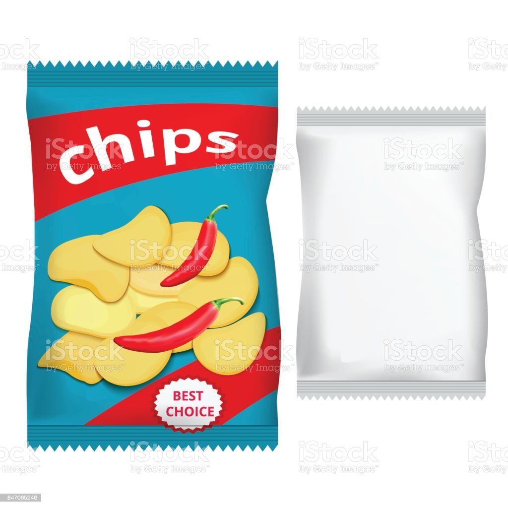packing chips with chili vector art illustration