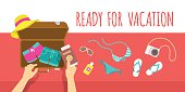 Packing clothes for summer vacation vector flat illustration