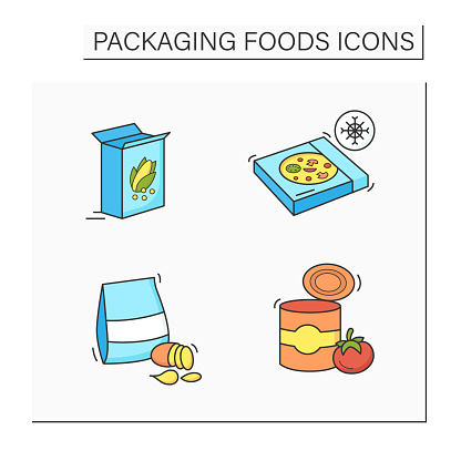 Packing foods color icons set
