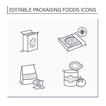 Packing foods line icons set