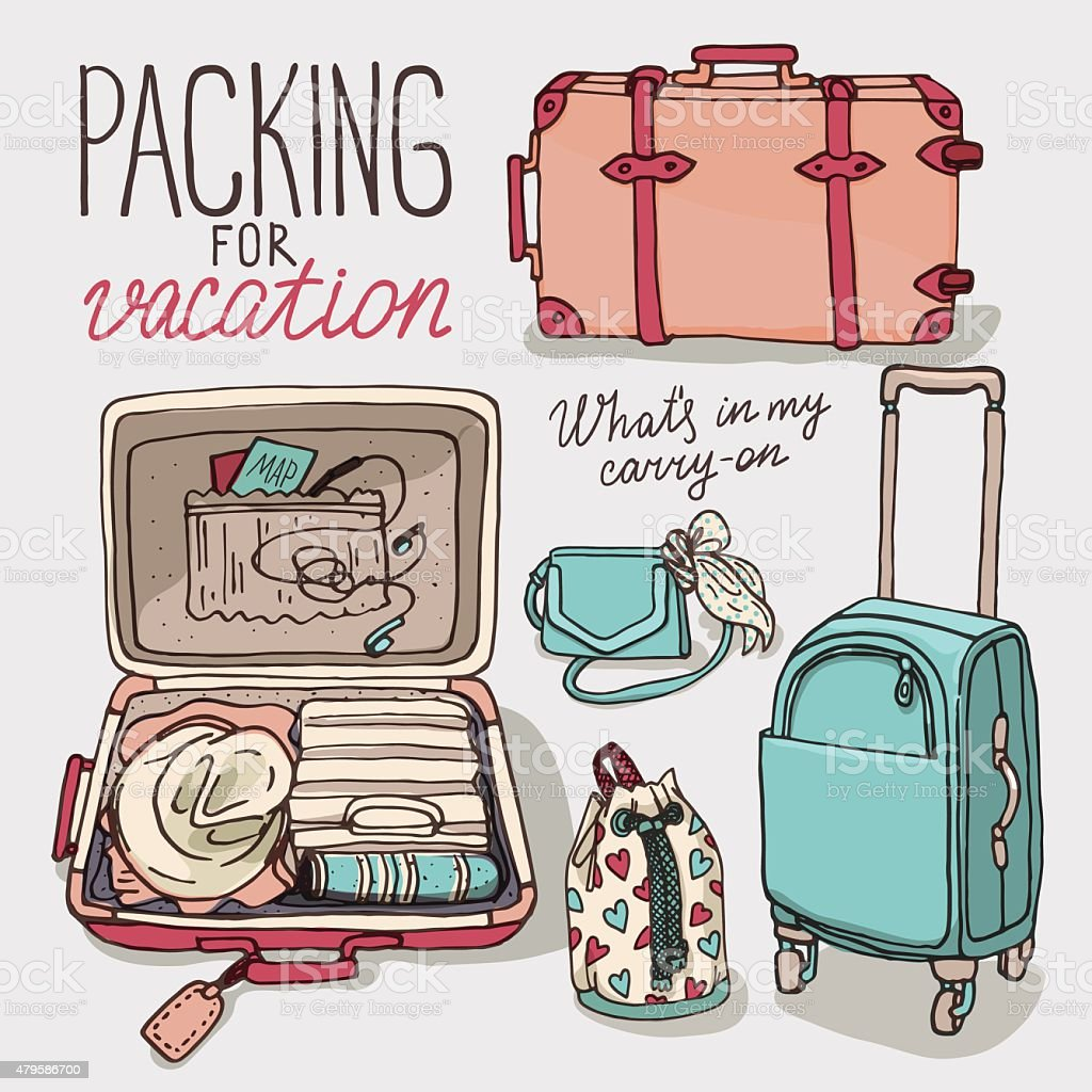 Royalty Free Packing Suitcase Clip Art, Vector Images ... Packing Luggage Clipart