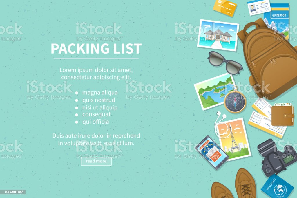 Packing list, travel planning. Preparing for vacation, travel, journey, trip. Baggage, air tickets, passport, wallet, guidebook, camera, compass, headphones, shoes. Place for text. Top view royalty-free packing list travel planning preparing for vacation travel journey trip baggage air tickets passport wallet guidebook camera compass headphones shoes place for text top view stock illustration - download image now