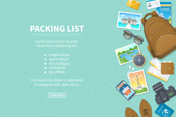 packing list, travel planning. preparing for vacation, travel, journey, trip. baggage, air tickets, passport, wallet, guidebook, camera, compass, headphones, shoes. place for text. top view - travel stock illustrations