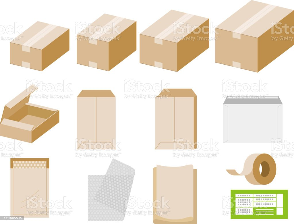 Packing materials such as cardboard boxes vector art illustration