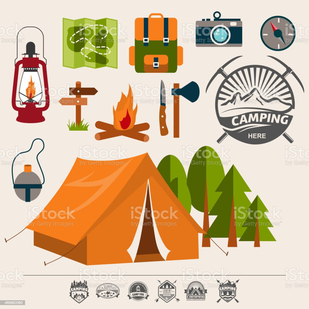 Packing supplies for an outdoor camping adventure vector art illustration