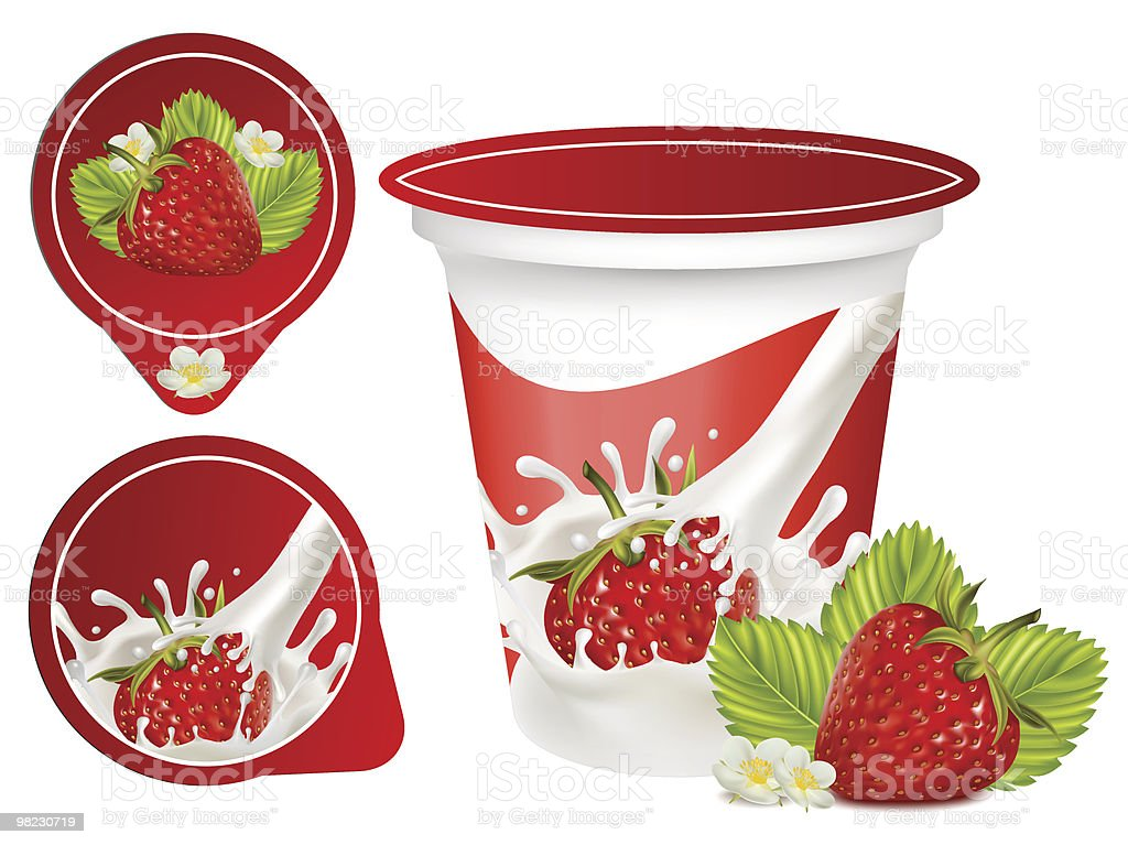 Packing yoghurt with photo-realistic vector of strawberry. vector art illustration