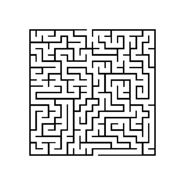 pacman-labyrinth-symbol. spiel melden - labyrinthgarten stock-grafiken, -clipart, -cartoons und -symbole