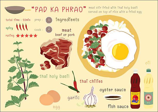pad ka phrao - thai food stock illustrations, clip art, cartoons, & icons