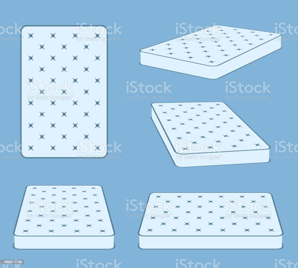 Padded comfortable sleeping bed mattress in different position vector template vector art illustration